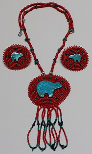 Beaded Medallion Necklace & Earrings - Bear