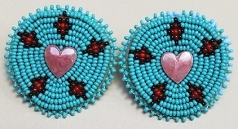 Semi Precious Stone & Bead Earrings - Large Heart 1