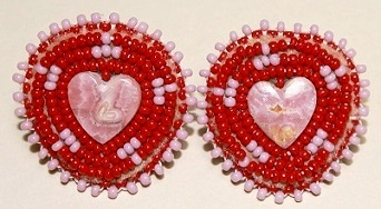 Semi Precious Stone & Bead Earrings - Small Heart