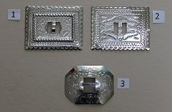 Stamped Nickle Conchos - Rectangle and Octagon
