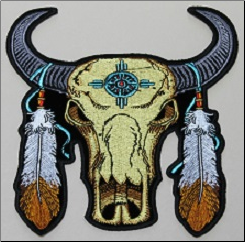 Patch - Buffalo  Skull with Feathers