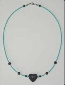 Lava  Stone Necklace - Single Strand with Heart