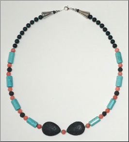Lava  Stone Necklace - Tear with Large Beads