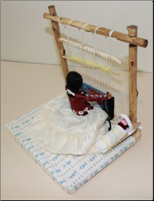 Navajo Woman Doll Sitting at Loom