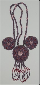 Beaded Medallion Necklace & Earrings - Heart
