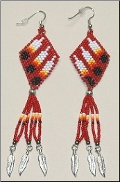 Three Feather Earrings