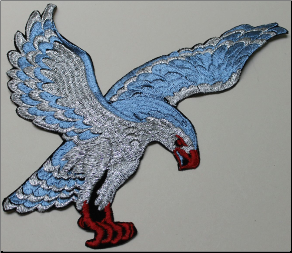 Patch - Large Flying Eagle, Blue/Silver