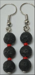 Lava Stone Earrings - 3 Layer Dangle