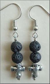 Lava Stone Earrings - Cross