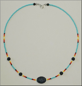 Lava  Stone Necklace - Single Strand with Oval
