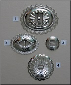 Stamped Nickle Conchos - Oval and Round