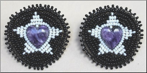 Semi Precious Stone & Bead Earrings - Large Heart 2