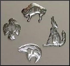 Stamped Nickle Conchos - Animals